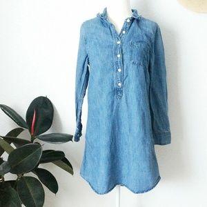 J. Crew Linen Chambray Long Sleeve Shirt Dress 6